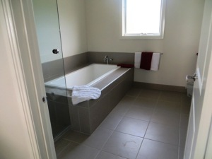 This isn't our bathroom but gives an idea of the space, modern features and cleanliness - oh dear, I sound like an ad!