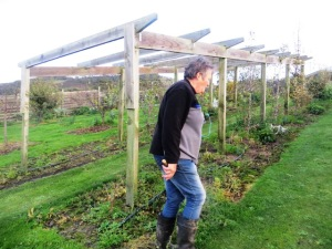 Rhonda hates being photographed so she'll kill me for this - but just have to show her with the trellis she built herself - and where she espaliers some of her pear trees